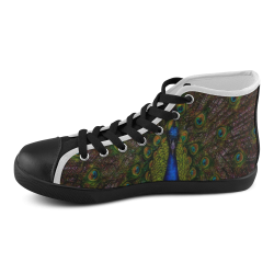 Awesome Peacock Men's High Top Canvas Shoes (Model 002)
