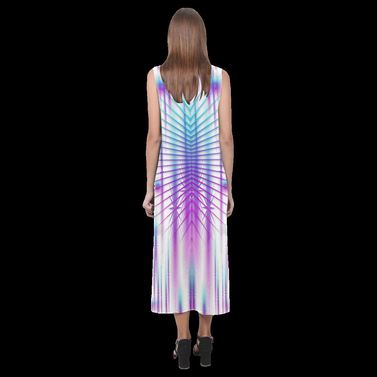 Star fall in rainbow landscape Phaedra Sleeveless Open Fork Long Dress (Model D08)