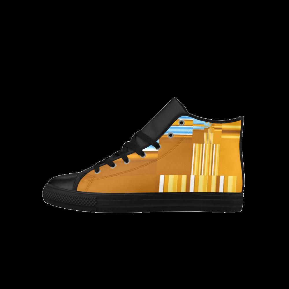 Endless Windows Stripes Gold Blue Aquila High Top Microfiber Leather Women's Shoes (Model 027)