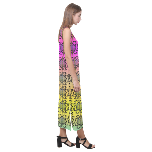 Butterflyes and decorative flowers reach the sky Phaedra Sleeveless Open Fork Long Dress (Model D08)