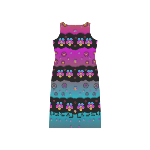 Rainbow  big flowers in peace for love and freedom Phaedra Sleeveless Open Fork Long Dress (Model D08)