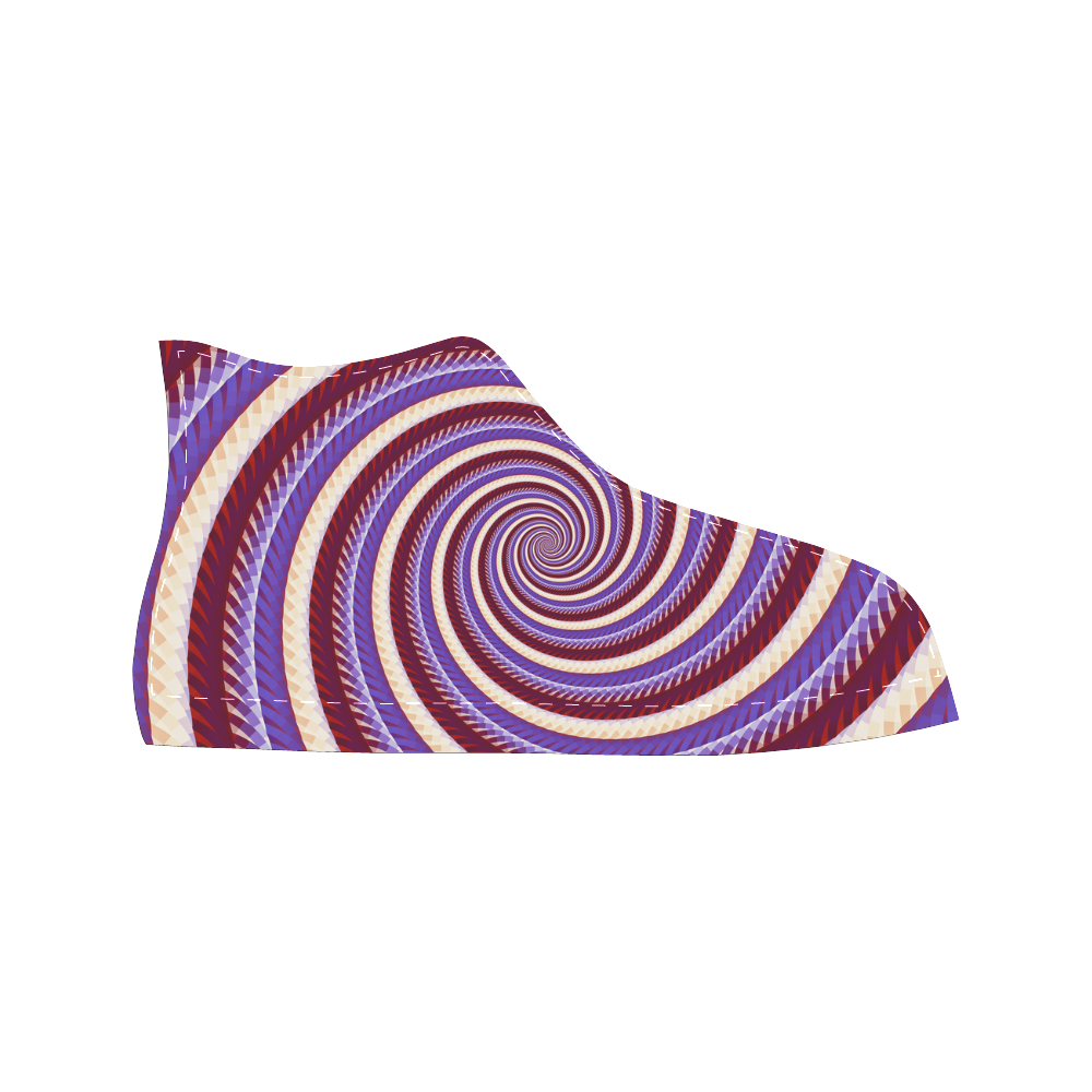 Coarse Woven Design Fawn Lilac Blue Spiral Aquila High Top Microfiber Leather Women's Shoes (Model 027)