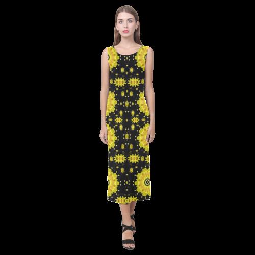 golden decorative flowery rainbow Phaedra Sleeveless Open Fork Long Dress (Model D08)