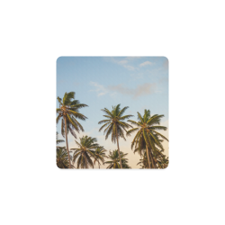Chilling Tropical Palm Trees Blue Sky Scene Square Coaster