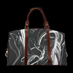 Blue Succulent White on Black Classic Travel Bag (Model 1643)