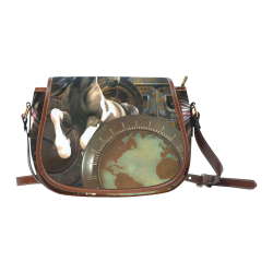 Steampunk, awesome horse with clocks and gears Saddle Bag/Small (Model 1649) Full Customization