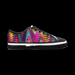 WAVES DISTORTION chevrons multicolored Women's Canvas Zipper Shoes (Model 001)