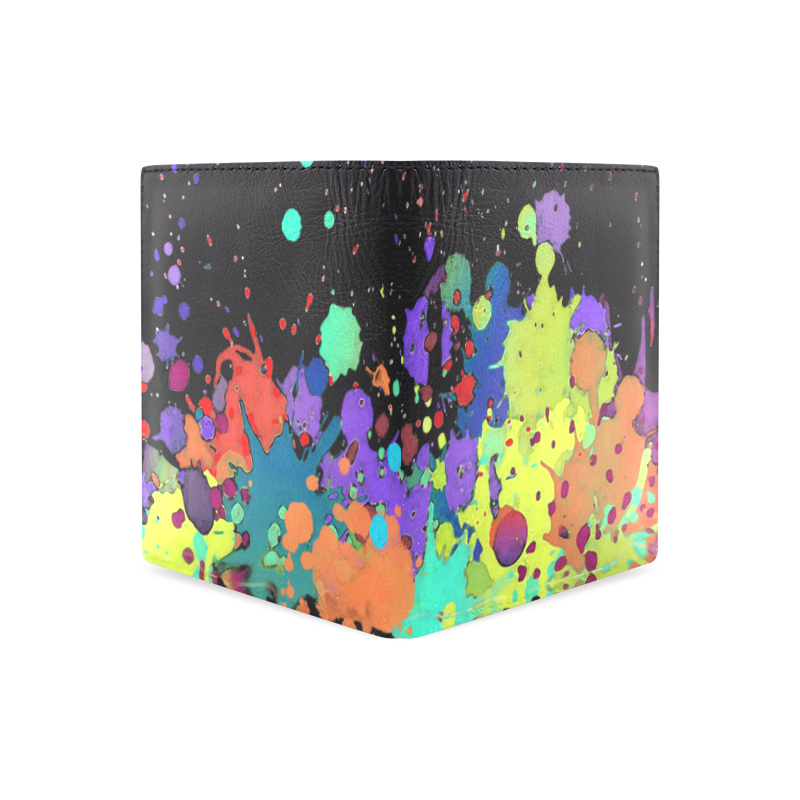 CRAZY multicolored SPLASHES / SPLATTER / SPRINKLE Men's Leather Wallet (Model 1612)