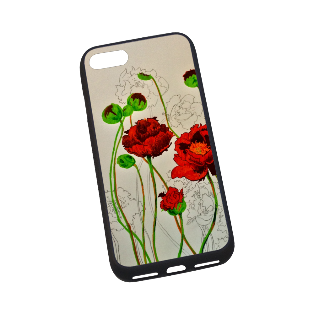 Red Peonies Rubber Case for iPhone 7 4.7""