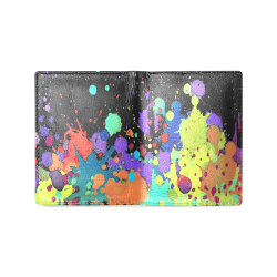 CRAZY multicolored SPLASHES / SPLATTER / SPRINKLE Men's Leather Wallet (Model 1612)