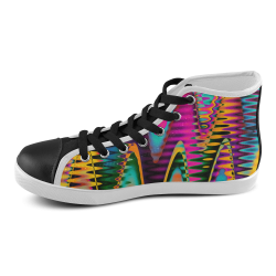 WAVES DISTORTION chevrons multicolored Women's High Top Canvas Shoes (Model 002)