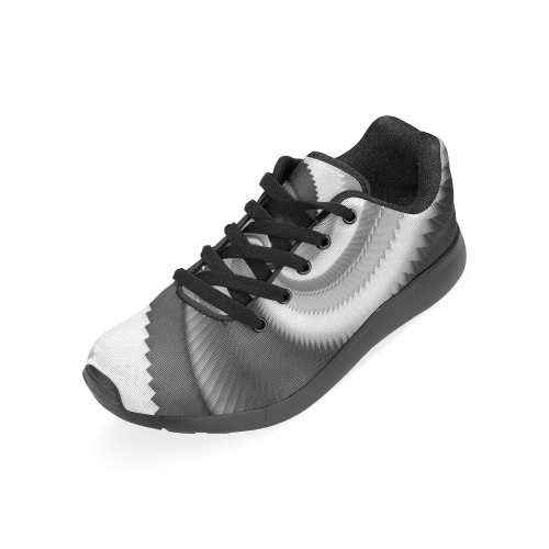 Black and White Dragon Scales Spiral Women's Running Shoes (Model 020)