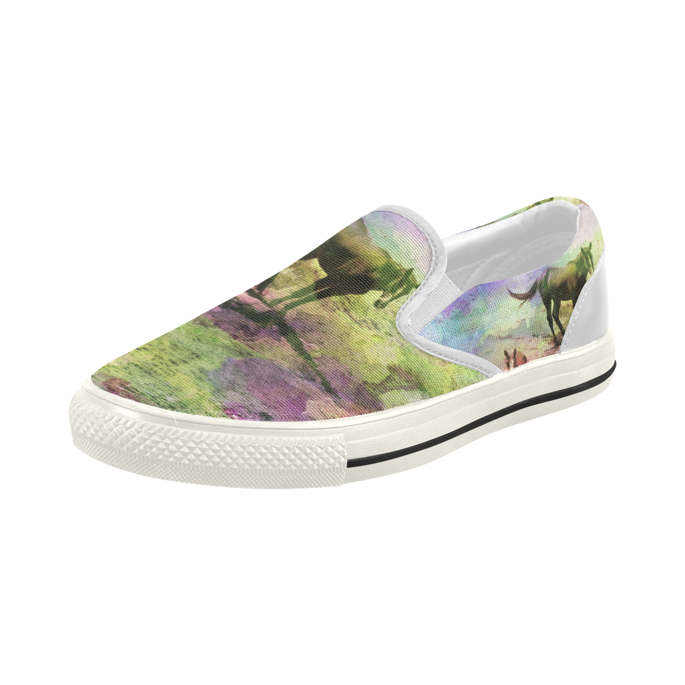 watercolor horses by Martina Webster Women's Slip-on Canvas Shoes (Model 019)