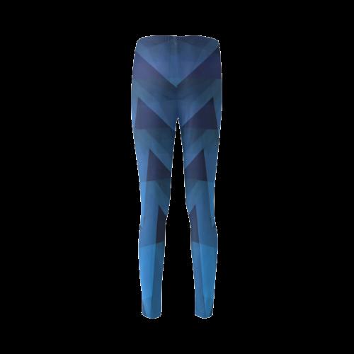 3-D Chevrons (Slate Blue) Cassandra Women's Leggings (Model L01)