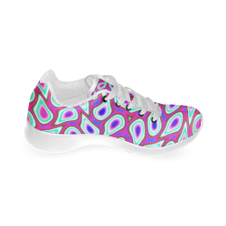FRACTAL: The Fuchsia Blues Abstract Women's Running Shoes (Model 020)