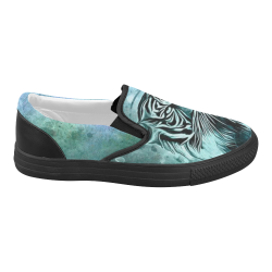 Watercolor Tiger Women's Slip-on Canvas Shoes (Model 019)