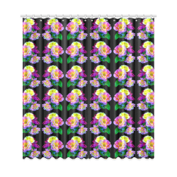 """Rosa Yellow Roses on Black Pattern Window Curtain 50""""x108""""(Two Piece)"""