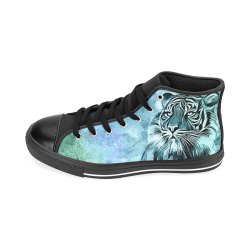 Watercolor Tiger Men's Classic High Top Canvas Shoes /Large Size (Model 017)