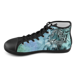Watercolor Tiger High Top Canvas Kid's Shoes (Model 002)