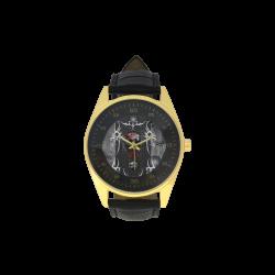 Awesome skull on metal design Men's Golden Leather Strap Watch(Model 210)