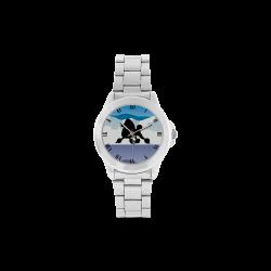 Black Poodle Rockin the Rockies watch Unisex Stainless Steel Watch(Model 103)
