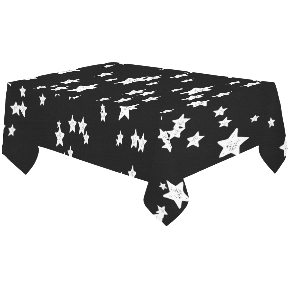 "Black and White Starry Pattern Cotton Linen Tablecloth 60""x120"""