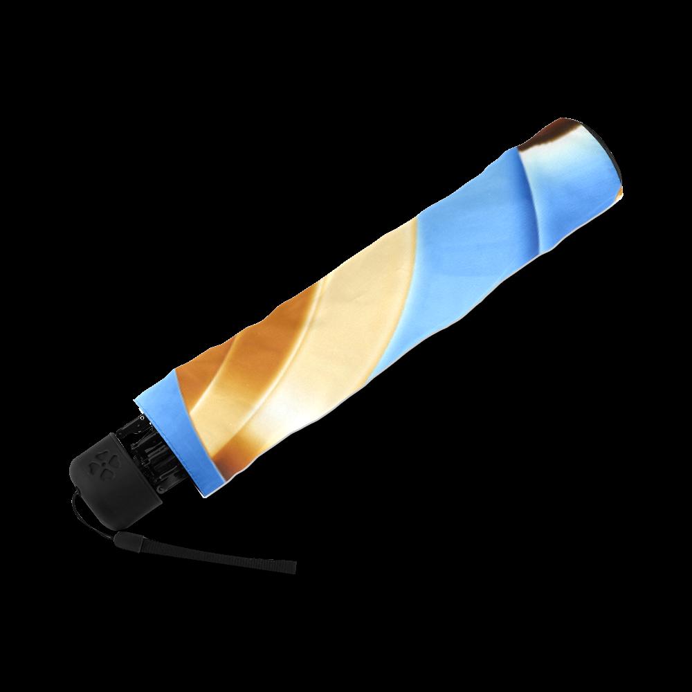 Golden Blue Bubble Spiral Foldable Umbrella (Model U01)