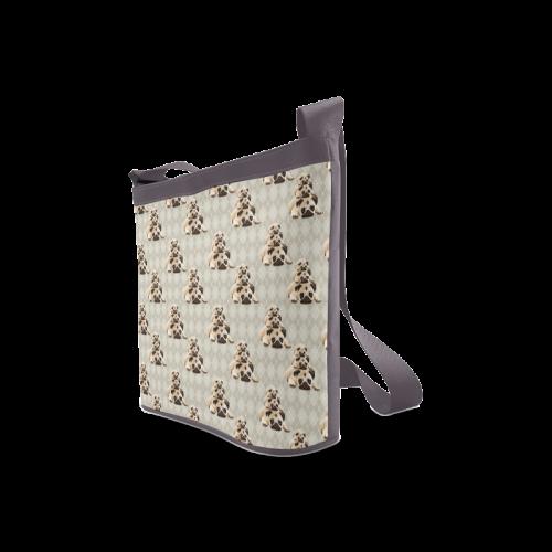 Pugs on Tan Argyle Crossbody Bags (Model 1613)