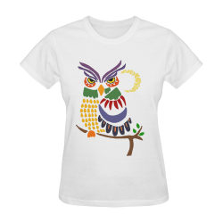 Cool Artistic Colorful Owl Abstract Art Sunny Women's T-shirt (Model T05)