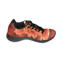 Fiery Black Running Shoes for Men -- Red Dahlia Fractal Flower with Beautiful Bokeh Men's Running Shoes (Model 020)