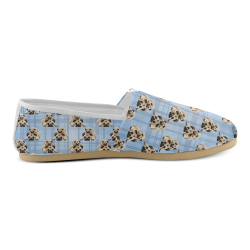 Pugs on Light Blue Plaid Unisex Casual Shoes (Model 004)