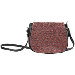 Seven Treasures dark red dramatic Japanese textile pattern Classic Saddle Bag/Large (Model 1648)