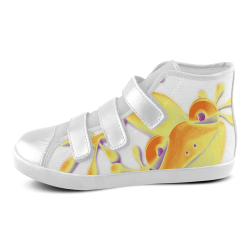 FUNNY SMILING GECKO yellow orange violet Velcro High Top Canvas Kid's Shoes (Model 015)