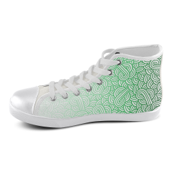 Gradient green and white swirls doodles Women's High Top Canvas Shoes (Model 002)