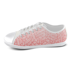 Gradient red and white swirls doodles Men's Canvas Shoes (Model 016)