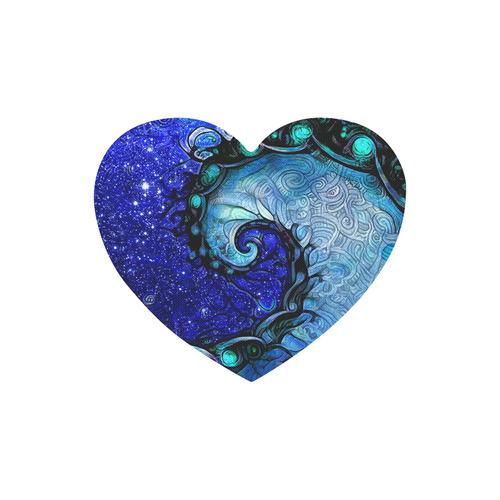 Scorpio Spiral Mousepad Heart -- Nocturne of Scorpio Fractal Astrology Heart-shaped Mousepad