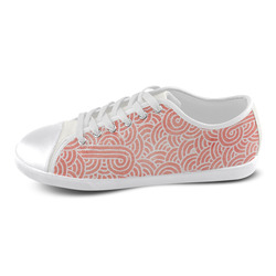 Peach and white swirls doodles Men's Canvas Shoes (Model 016)