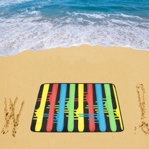 "Colorful Rainbow Strokes of the Brush Beach Mat 78""x 60"""
