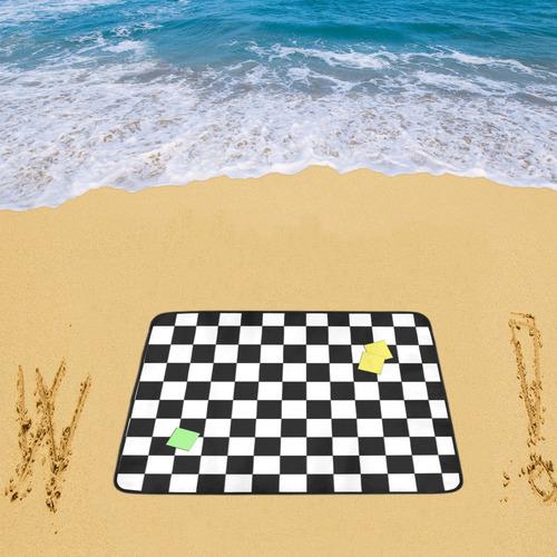 "Dropouts Yellow Light Green Black and White Chess Beach Mat 78""x 60"""