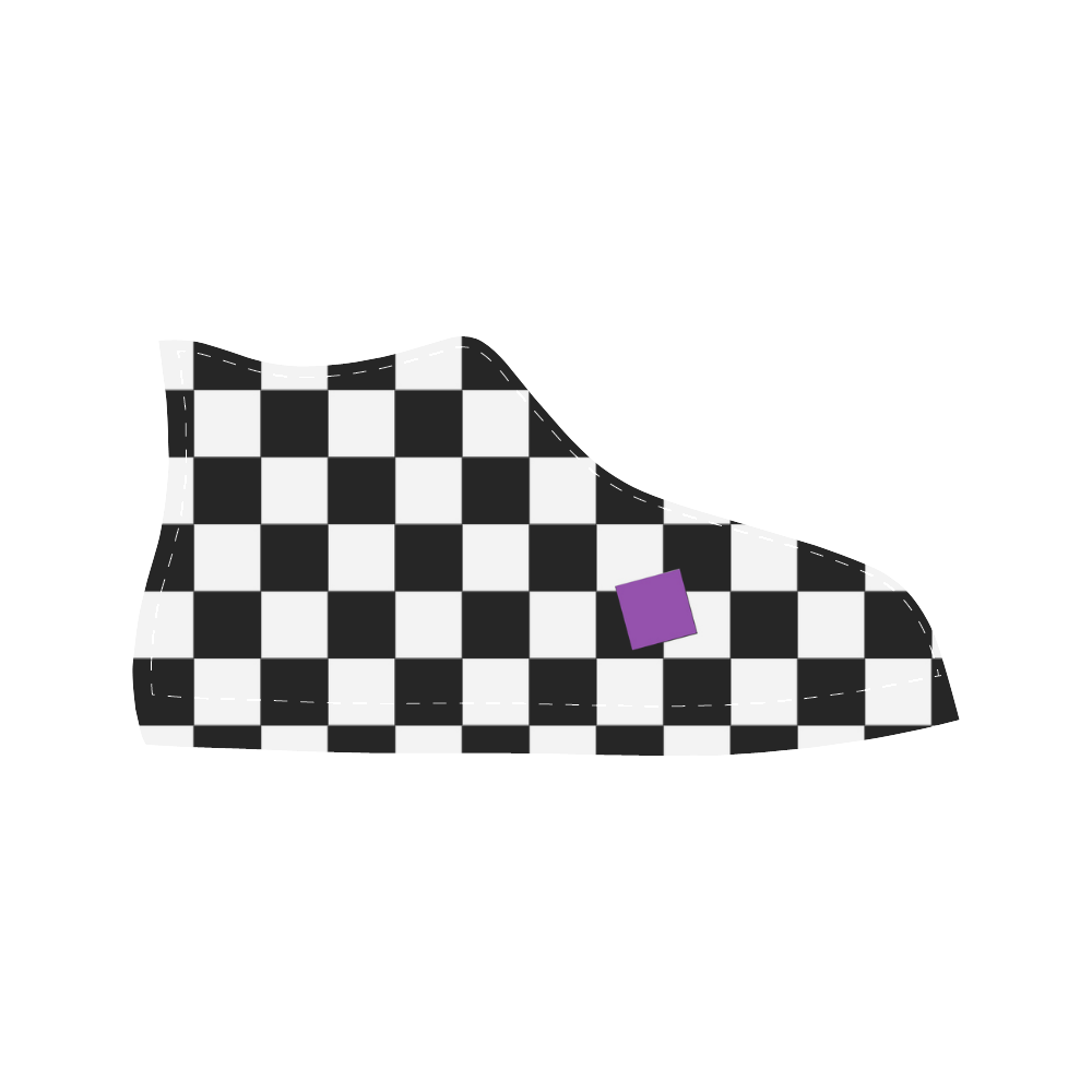 Dropout Lilac Black and White Check Aquila High Top Microfiber Leather Women's Shoes (Model 027)