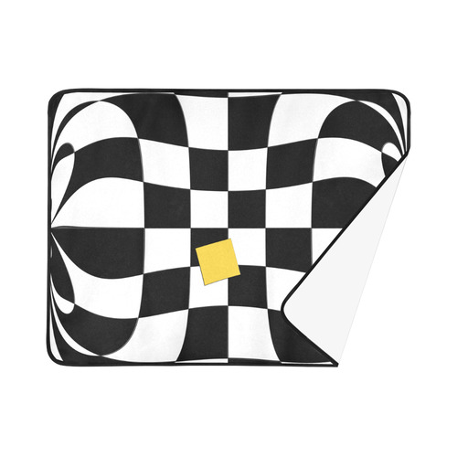 "Dropout Yellow Black and White Distorted Check Beach Mat 78""x 60"""