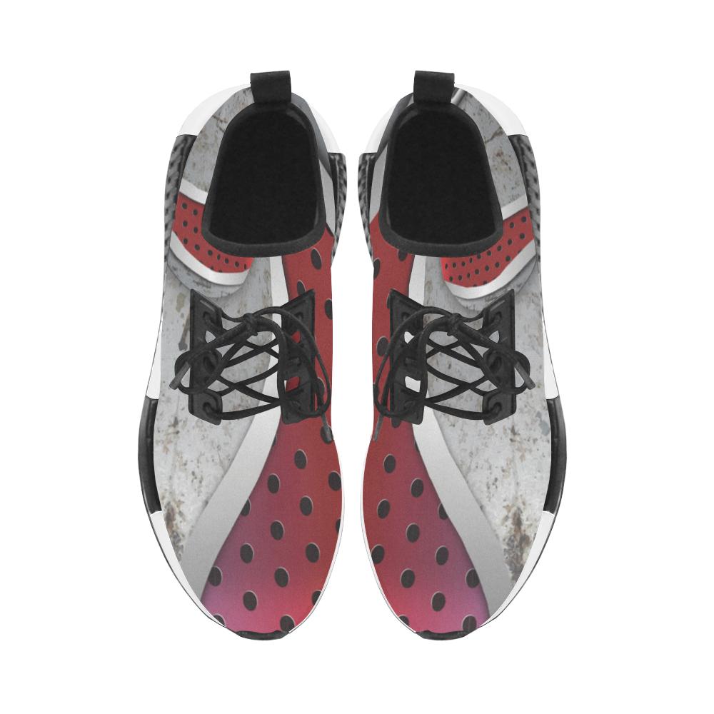 3D metal textured art Women's Draco Running Shoes (Model 025)