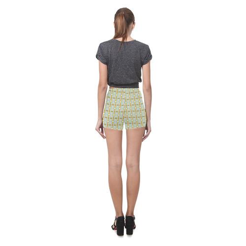 Abstract Flower Fractal Pattern Briseis Skinny Shorts (Model L04)
