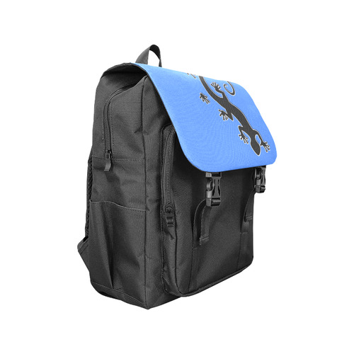 RUNNING GECKO with footsteps black Casual Shoulders Backpack (Model 1623)