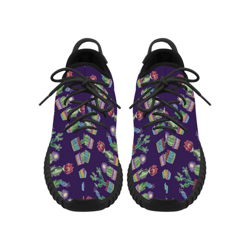 Cute Cactus Blossom Grus Women's Breathable Woven Running Shoes (Model 022)