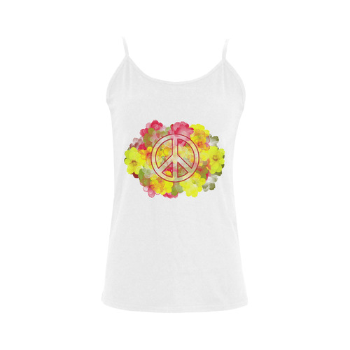 Flower Power Peace Women's Spaghetti Top (USA Size) (Model T34)