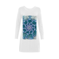 Floral spiral in soft blue on flowing fabric Demeter Long Sleeve Nightdress (Model D03)