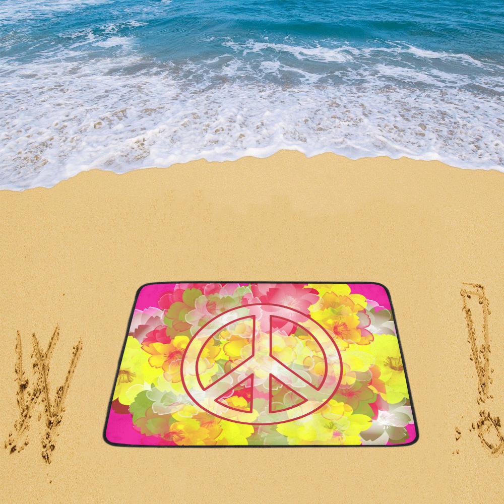 """Flower Power Peace Beach Mat 78""""x 60"""""""