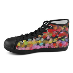 Colorful paint strokes Women's High Top Canvas Shoes (Model 002)