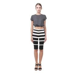Black and White Stripes Hestia Cropped Leggings (Model L03)